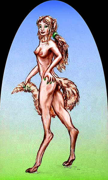 Pencil sketch of faun-girl with mare's tail and fox-legs, stretching to full relevee...