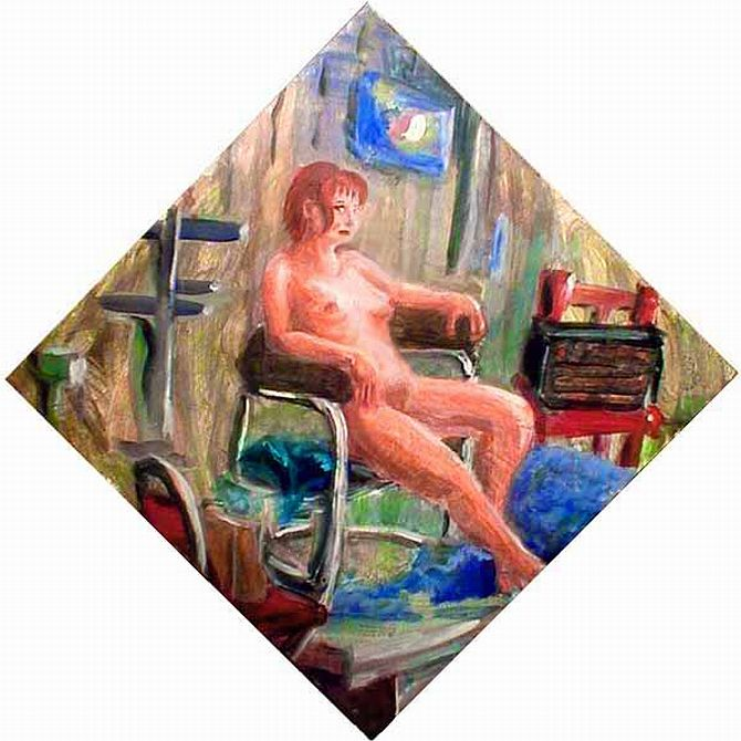 Redhead slouches in a chair in painting class; a diamond-shaped painting.