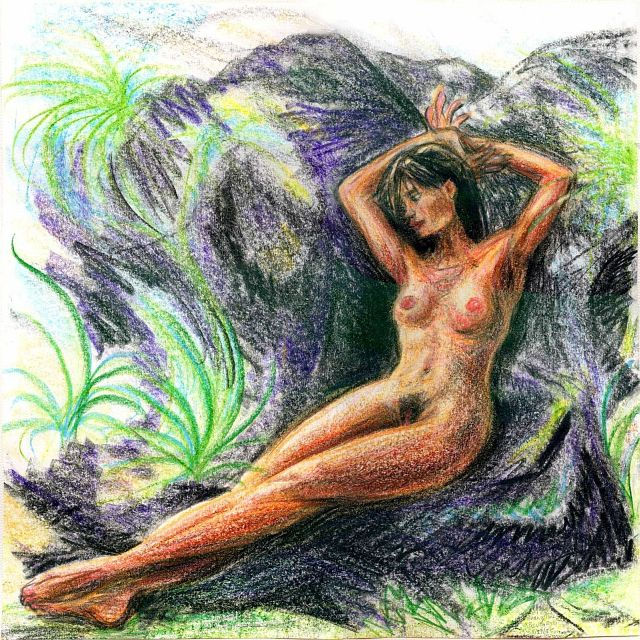 Evangeline lounges on rocks amid ferns; figure sketch by Wayan. Click to enlarge.