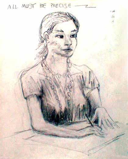 Line drawing of woman drawing at small table
