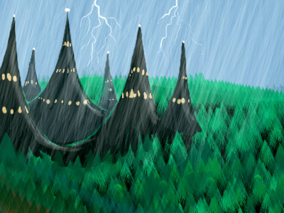 Sketch of a dream. Lightning. Rain. Dark castle with spires.