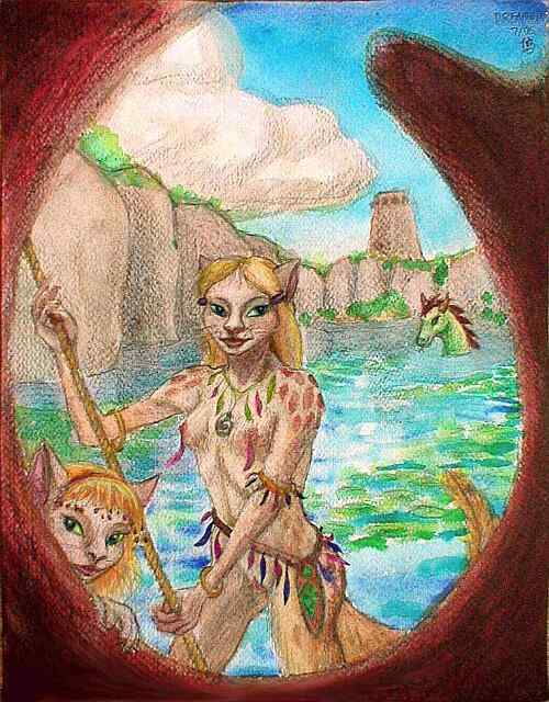 Me as a cat-girl on the deck of our boat in the drowned city we found. Click to enlarge.