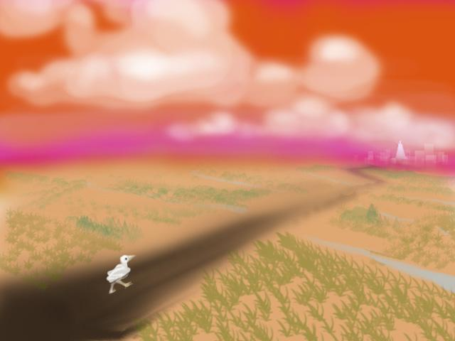 Doodle of a white bird walking down a black asphalt road through flat dry farmland toward a distant white city. Loud orange sky. Dream by Alder, image by Wayan.