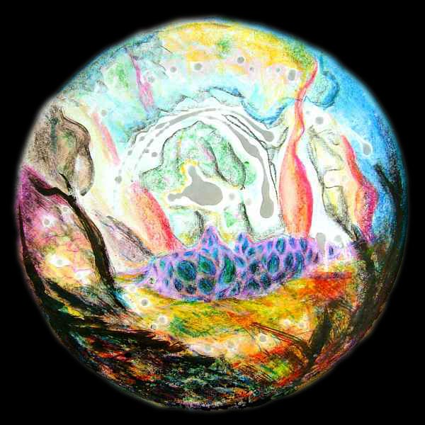 A round planet-ish abstract in bright crayon, paint and dripped wax.