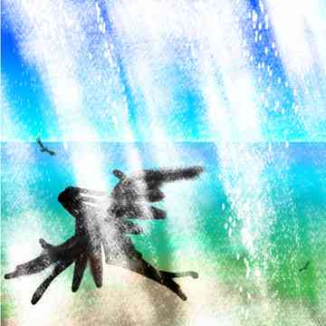 Figure in strap-on wings flies through a waterfall high above a turquoise tropical sea.