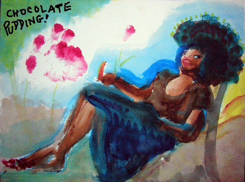 Brown woman reclines, reading a book; watercolor sketch of a dream by Wayan.