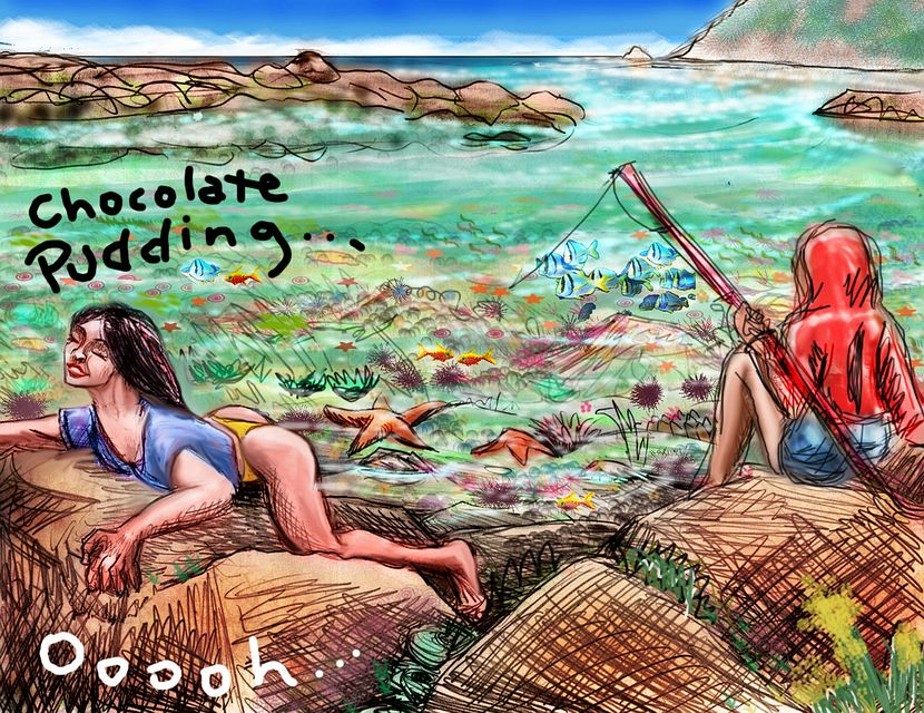 Woman in blue shirt and yellow bikini lies on a breakwater, gasping 'Chocolate pudding!' To the right, her son, in red, fishes.