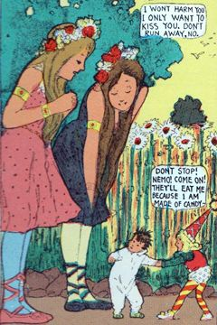 Two tall dryad girls flirt with Little Nemo but the Candy Kid fears they want to devour him.