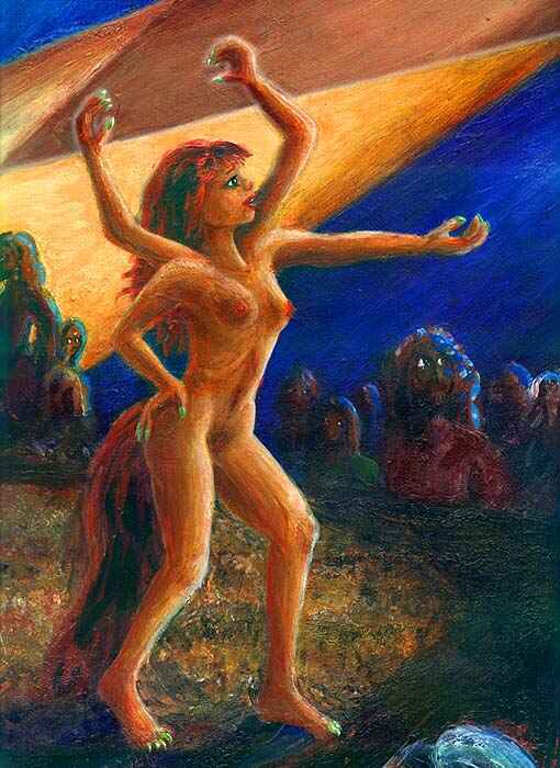 Four-armed girl with a red tail  sings her heart out--closeup. Dream painting by Wayan; click to enlarge.