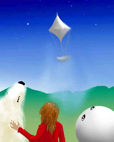 A polarbear, a human in a red shirt, and a white beachball/balloon with eyes watch from the ground as an octahedral starship lifts off.