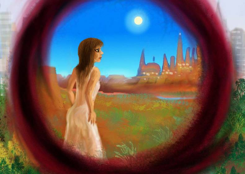 Gospel Girl steps through a portal, finds a city in a desert. Dream sketch by Wayan. Click to enlarge