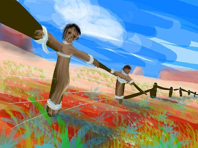 Paint-sketch of a collapsing wood-rail fence on a desert hill. Sage, red earth, deep blue sky. Two bodies are tied to fence posts, mummified like dried-up Christs. Click to enlarge.