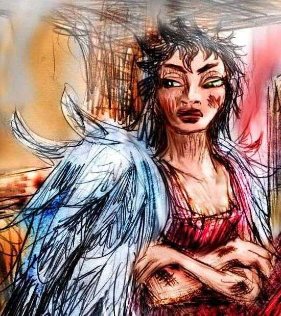 Sketch of a dream by Wayan: a girl with angel wings, scowling for good reason. Scorched feathers.