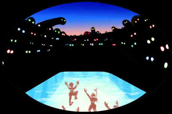 Night. Black ghost-silhouettes with glowing eyes watch small human figures walk through a luminous pool.