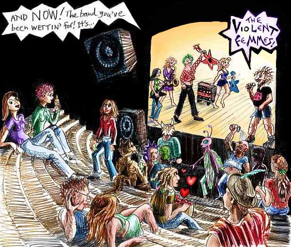 Sketch of the crowd inside a punk club in Silicon Valley, 1986, waiting to see the Violent Femmes.
