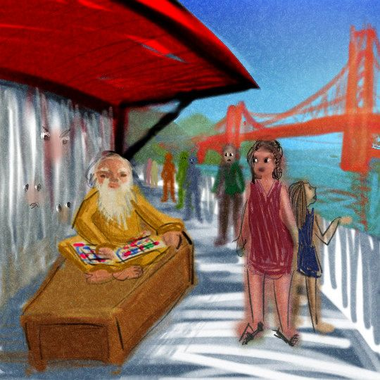 Guru and coffin on ferry to Little Willow; dream sketch by Wayan.