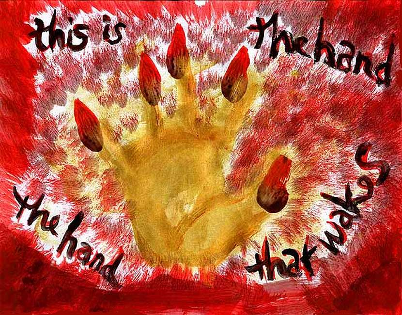 a hand of red brush-flames.