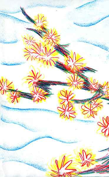 Crayon of a crooked tree-branch with small red and yellow flowers
