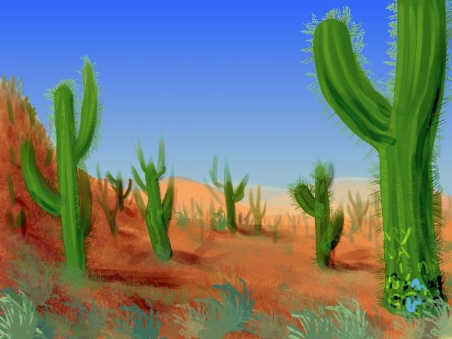 Scars form letters at the foot of an organpipe cactus; dream sketch by Wayan.