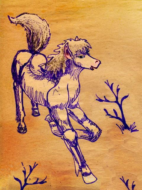 I'm a horse and I'm hot to trot; dream sketch by Wayan. Click to enlarge.
