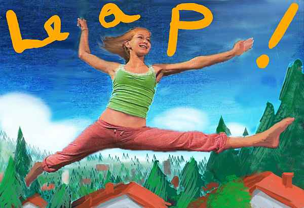 I leap in dance-class sweats, flying over houses and pine trees. LEAP scrawled in gold on the sky. Dream sketch by Wayan, based on a dancer in a zine--maybe the Pickle Family Circus in San Francisco? Sorry for not giving proper credit, I lost the zine.
