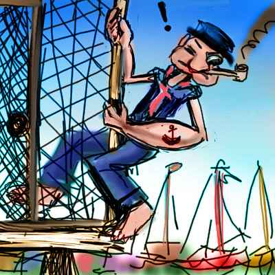 Dream: I'm Popeye climbing round a barrier on a pier, terrified of falling.