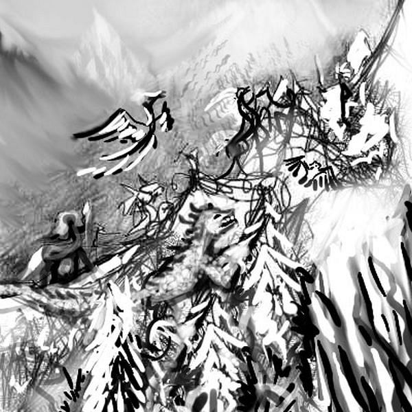 Ink Mountain, made up of little doodles of fighting creatures