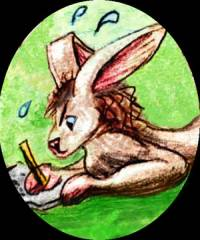 Me as a lab animal; a sort of rabbit trying to write with a big pencil.