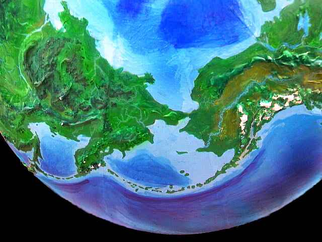 The tropical Bering Isthmus linking Eurasia and the Americas, on an alternate Earth called Jaredia