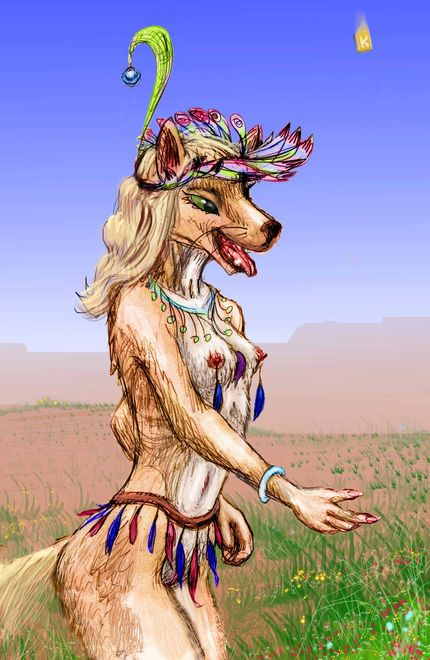 The Dog Princess in feathers and jewels, on a desert mesa typical of her home. Click to enlarge.