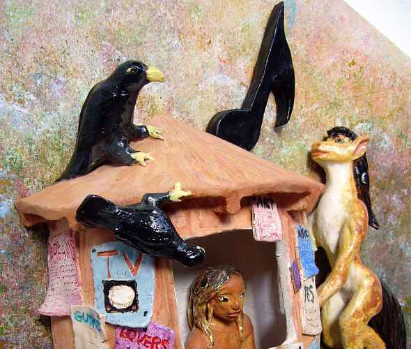 clay statue of the Moral Kiosk papered with moral commandments. On the right, in the form of a slender spotted mare with black mane and tail, I rear up to sing to the Reading Man inside the Kiosk, as two ravens peer in.