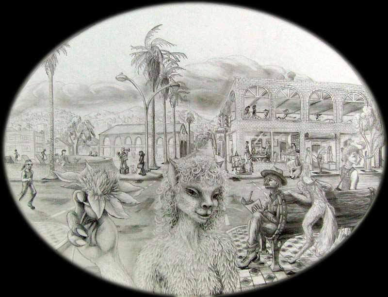 Oval pencil drawing of two krelkins--furry, tailed, four-fingered aliens. Background: Mission and 24th St, San Francisco! Cafes, dance studios, a BART station, street artists. Click to enlarge.