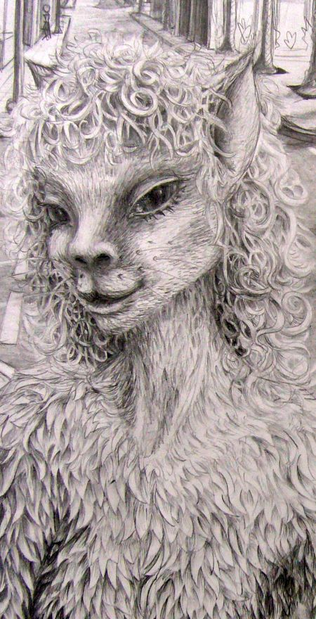 pencil drawing by Chris Wayan of a being met in a dream who called herself a krelkin