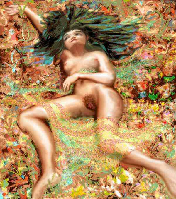 Woman lying in fallen leaves, very foreshortened.