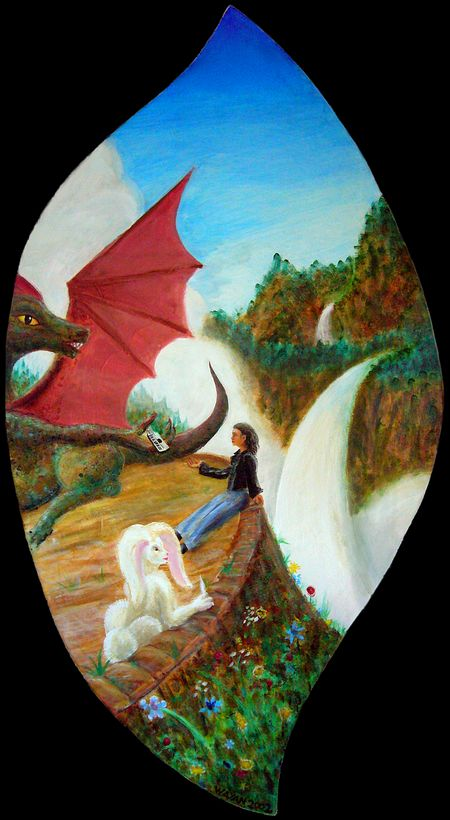 A dream: Dragon and White Hare and I, on the Terrace above Chaos.