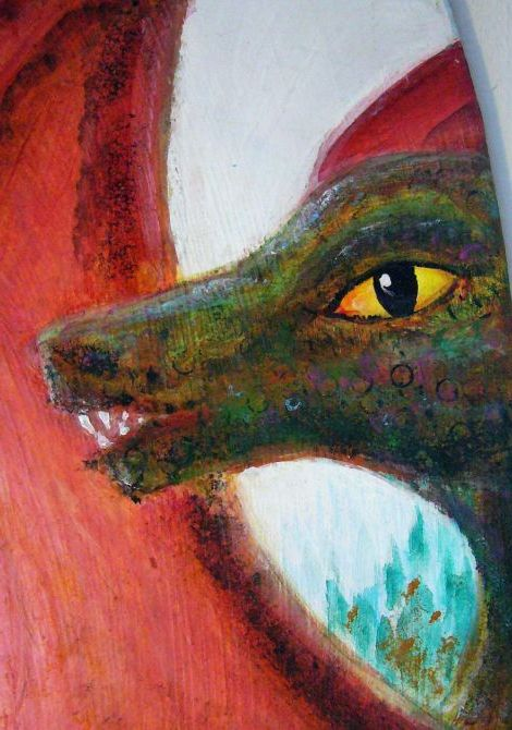 A dragon I met on a terrace in the astral plane; dream painting by Wayan. Click to enlarge.