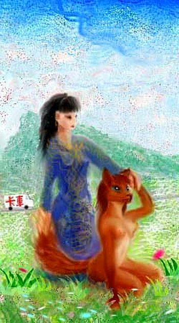 Chinese fox-maidens, one in human form, one in transition.