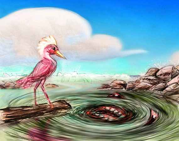 Dream: a sentient whirlpool in a harbor attacks a marine scientist who's a flamingo.