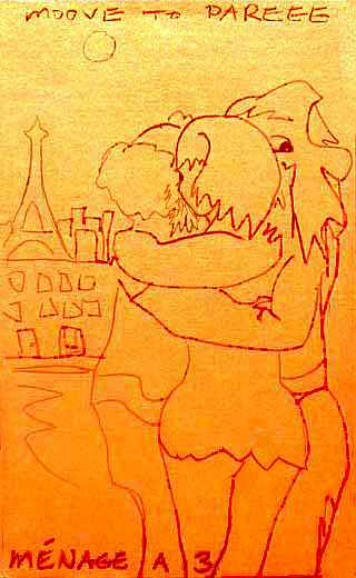 line sketch of our menage a trois, embracing in Paris