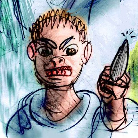 An angry boy waves a knife; dream sketch by Wayan.