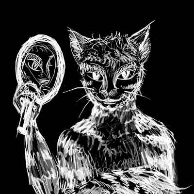 Me as a cat-man, white lines on black, with shading all wrong, like a photo negative.