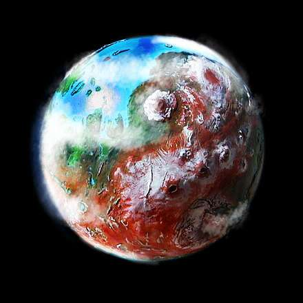 Orbital view of a terraformed Mars: Amazonia, Elysium and Tharsis, with Mt Olympus.