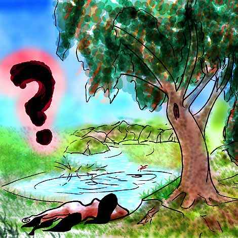 Female satyr lying by a forest pool where a businessman floats. Dreaming or drowning?