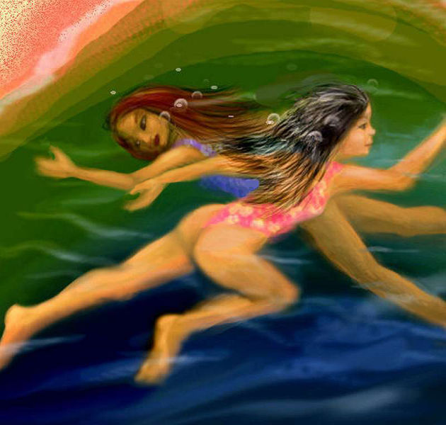 Two children in floral swimsuits, in murky green water. Dream sketch by Wayan; click to enlarge.