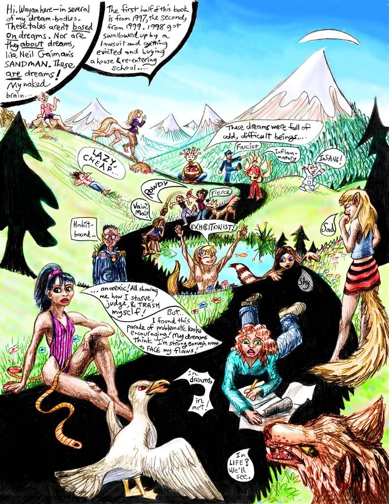 Introduction to 'Open Your Cage', a dream-comix collection  by Wayan. Dream-creatures tell their stories on a road through an alpine meadow. Click to enlarge.