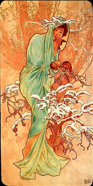 'Winter', a poster by Alphonse Mucha. Click to enlarge.