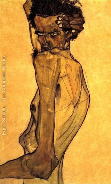 'Self-Portrait with Arm above Head', a painting by Egon Schiele. Click to enlarge.