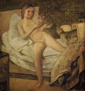 'Getting Up', a painting by Balthus. Click to enlarge.
