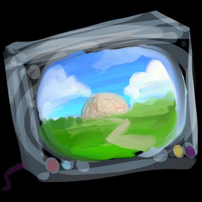 TV screen shows a huge dome in a Vietnamese field; dream sketch by Wayan.