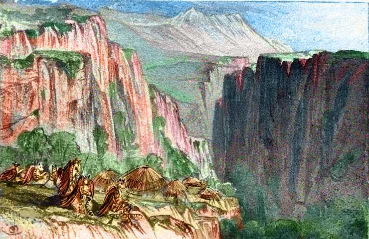 Beehive huts on the shoulder of a cliff in open mountains; the inhabitants look like small winged tigers. Northwest Continent 9, on Pegasia, an Earthlike moon.